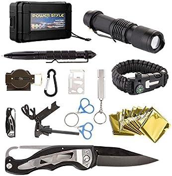 Kit de emergencia de supervivencia 13 en 1, caja de herramientas multiusos para equipo de primeros auxilios para viajes, camping, con linterna táctica, silbato, pulsera, manta, brújula: Amazon.es: Bricolaje y herramientas