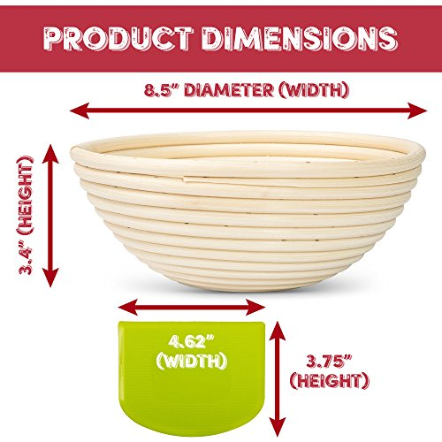HipKopp 8.5 inch Banneton Bread Proofing Basket Set - eco-friendly Material Rattan Shape Loaf Bowl -Sourdough Kitchen Silicone Scraper Cloth Liner kit - 4 Customised Stencils for Professional Baking by HipKopp (Image #3)