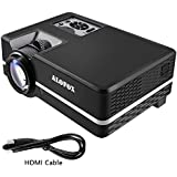 ALOFOX A313 1500 Lumens LCD Mini Projector, Multimedia Home Theater Video Projector Support 1080P HDMI USB SD Card VGA AV for Home Cinema TV Laptop Game iPhone Andriod Smartphone with Free HDMI Cable