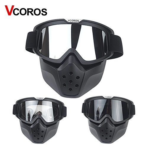 VCOROS Modular Mask with Goggle & Mouth Filter for 3/4 Open Face Motorcycle Helmets (Black Frame/Dk Smoke Lens Gen II)