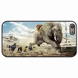 iPhone 5 5S Black Hardshell Case race competition dog elephant sand sky cloud fangs building glass lamps grass fence Desin Images Protector Back Cover