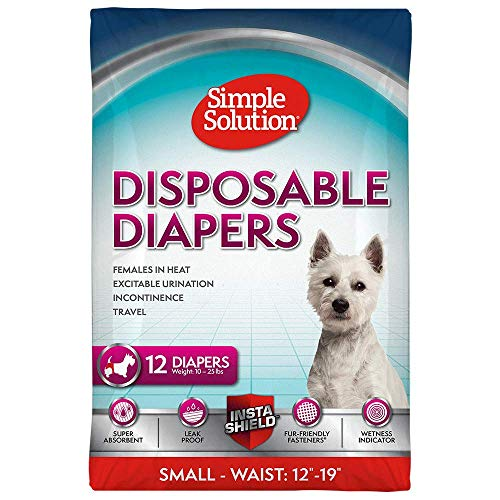 Simple Solution True Fit Disposable Dog Diapers for Female Dogs | Super Absorbent with Wetness Indicator | Small | 12 Count