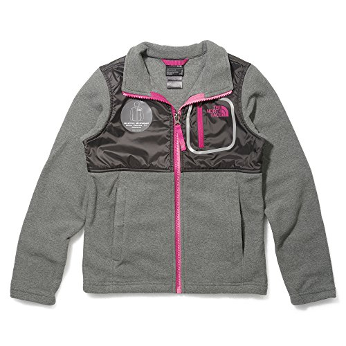 The North Face Girl's Lightweight Glacier Track Jacket TNF Medium Grey Heather/Cabaret Pink Medium