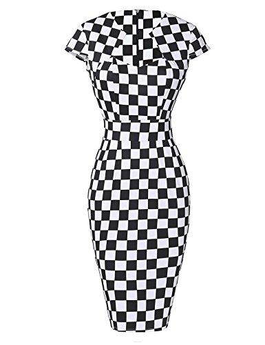 Grid Vintage Swing Dresses for Women Party Black & White 1950's L CL7597-9