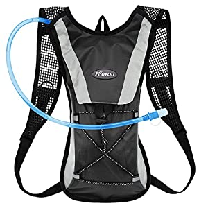 KUYOU Hydration Pack Water Rucksack Backpack Bladder Bag Cycling Bicycle Bike/Hiking Climbing Pouch + 2L Hydration Bladder,(Black+Water Pouch)
