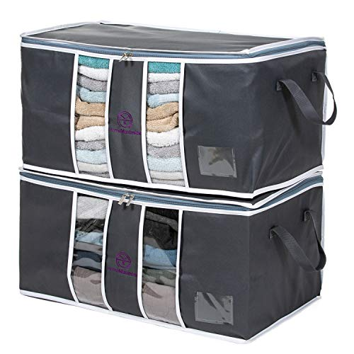 Home Maximize Closet Organizer Storage Bags (2-Pc. Set) Clothes Storage Bags, for Clothing, Blanket, Comforter,Bedding Reinforced Handle with Sturdy Zipper