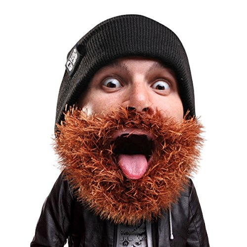 Beard Head Bushy Biker Beard Beanie - Funny Knit Hat and Fake Beard -