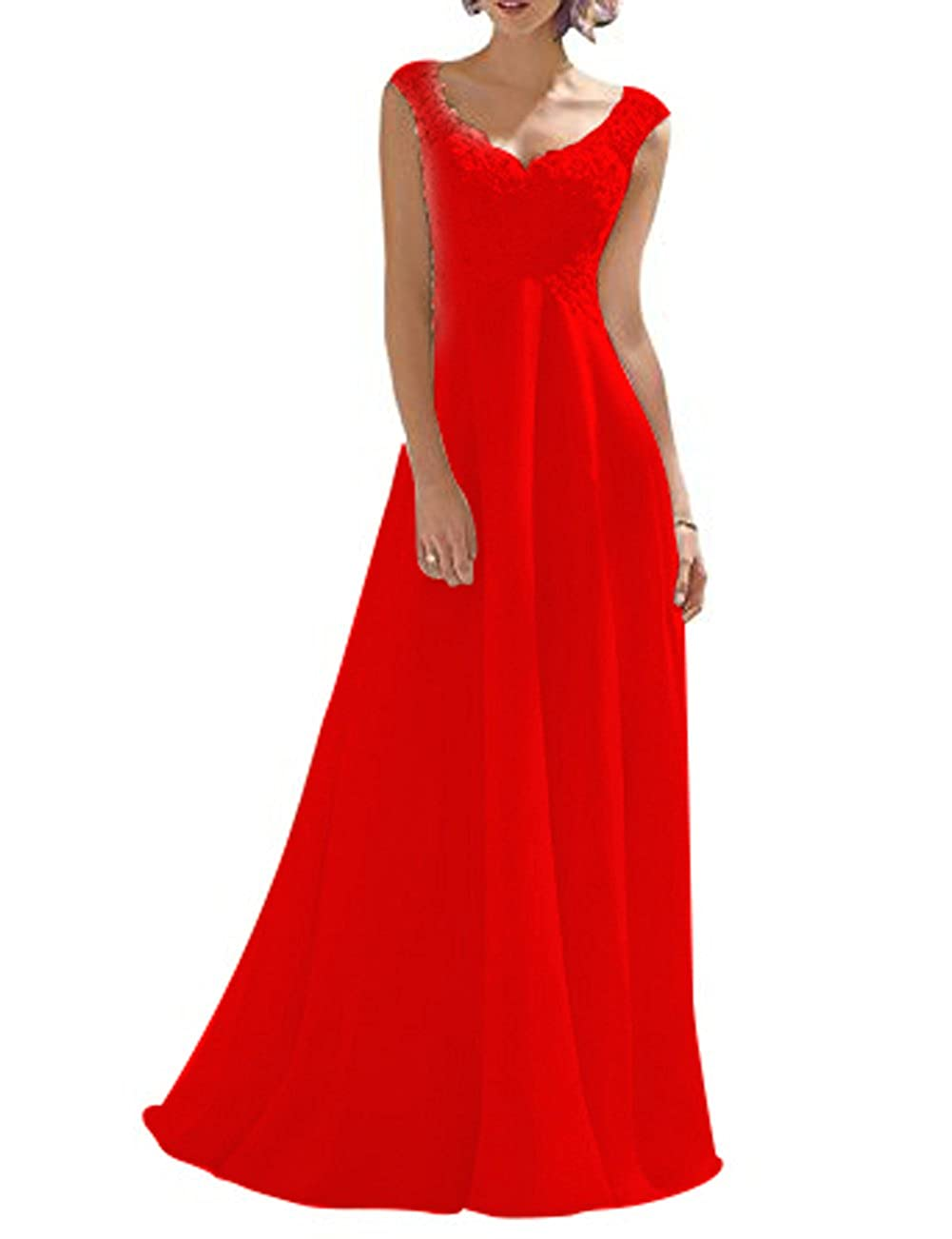 Vickyben Womens V-neck A-line Lace Straps Chiffon Long Beach Bridal Gown Wedding Dress