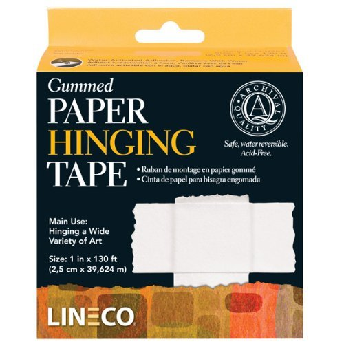 Lineco Water-Activated Gummed Frame/Hinging Tape, 1-Inch x 130-Feet - Tape Frame Sealing