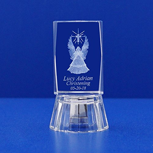 Baptism Favors (12 PCS) Christening Communion Personalized Custom Laser Etched Engraving with 3D Praying Angel & Cross Crystal (2.5