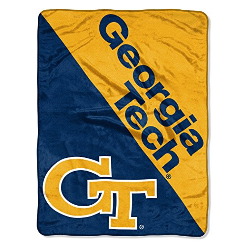 Officially Licensed NCAA Georgia Tech Yellow Jackets Halftone Micro Raschel Throw Blanket, 46
