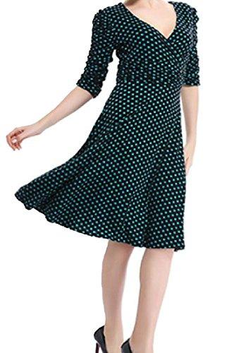 Coolred-femmes Cou Profonde V Élégante Balançoire Solide Confortable Mi-longueur Robe De 6