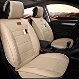 Adjuatable Easy to Clean PU Leather Car Seat Cushions 5 seats Full Set - Anti-Slip Suede Backing Universal Fit Car Seat Covers for Both Fabric and Leather Car Seats(Pure Beige)