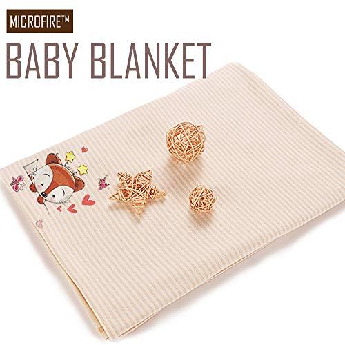 MICROFIRE Baby Blanket Nursery Bed Blanket 30 x 36 Small Travel Blanket Fox Printed for Stroller, Crib, Newborns, Receiving 100% Cotton