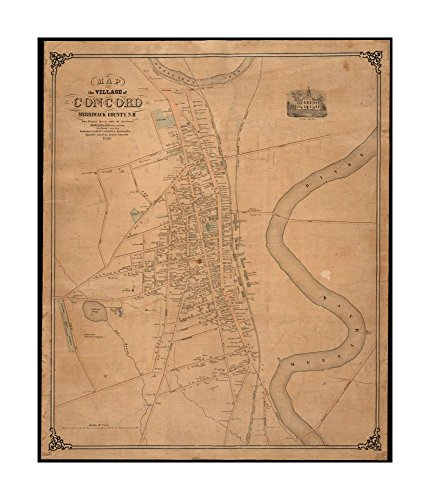 1851 Map Concord of village of Concord, Merrimack County, N.H Shows named streets, labeled buildings (some with owners' names) & railroads.Merrimack New Hampshire|Ready to Frame|Historic - Merrimack Outlets The