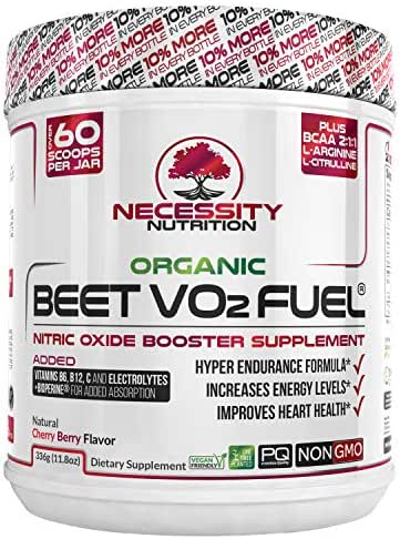 Organic Beet Root Powder V02 Fuel + BCAA Amino Acids 30 Servings | Nitric Oxide Supplement | Super Endurance, Blood Pressure, and Cardiovascular Health | Juice Extracts Paleo No Sugar, Non-GMO