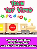 Teaching basic shape with wooden train and colorful cookies for toddlers