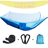 Hann Camping Hammock, Portable Camping Hammock with Mosquito Net Parachute Nylon Fabric Lightweight Hammock for Beach, Traveling, Hiking, Mountain,Adventure,Outdoor Jungle (Blue)