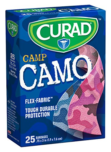 Curad Camouflage Pink and Blue Fabric Bandages, 25 Count (Pack of - Blue Fabric Camouflage