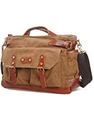 Bronze Times(TM) Mens Retro Large Canvas Travel Messenger/Shoulder Bag