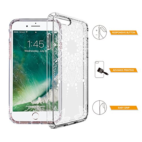 iPhone 7 Plus Case, MOSNOVO White Henna Mandala Floral Lace Clear Design Printed Transparent Hard Plastic with Soft TPU Bumper Protective Back Phone Case Cover for Apple iPhone 7 Plus (5.5 Inch)
