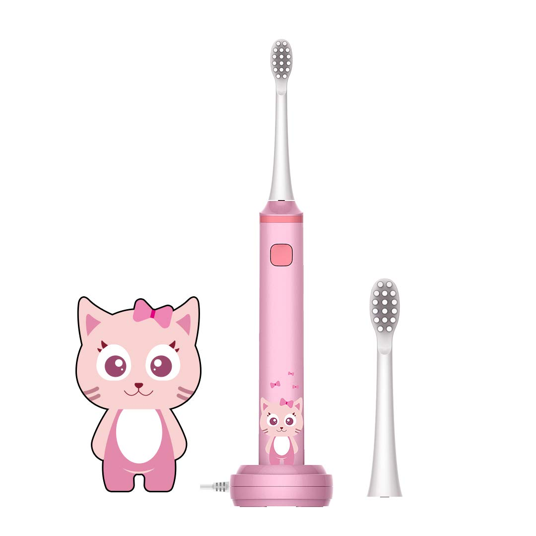 Leyoung Kids Electric Toothbrush, Vibrating Toothbrush for Children Boys and Girls Age 3-13, with Smart Timer Rechargeable Electric Toothbrush, IPX7 Waterproof, Back to School Pink