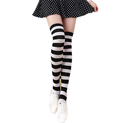 1b7a4791246dd TOMORI Women's Over Knee Stocking Long Stripe Thigh High Casual Elegant  Tube Socks (Black and