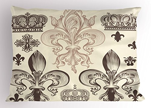 - Ambesonne Fleur De Lis Pillow Sham, Heraldic Pattern with Fleur-de-Lis and Crowns Tiara Coat of Arms Knight, Decorative Standard King Size Printed Pillowcase, 36 X 20 inches, Begie Taupe Ivory