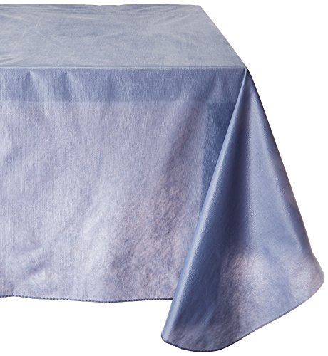Carnation Home Fashions Vinyl Tablecloth with Polyester Flannel Backing, 52, 70-Inch, Slate