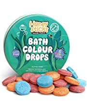 Honeysticks Natural Bath Colour Drops for Kids – Natural and Food Grade Ingredients – Great Bathtime Toys Gift – Fragrance Free – 36 Drops