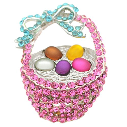 Pink Easter Basket Crystal Brooch (Crystal Easter Pin)