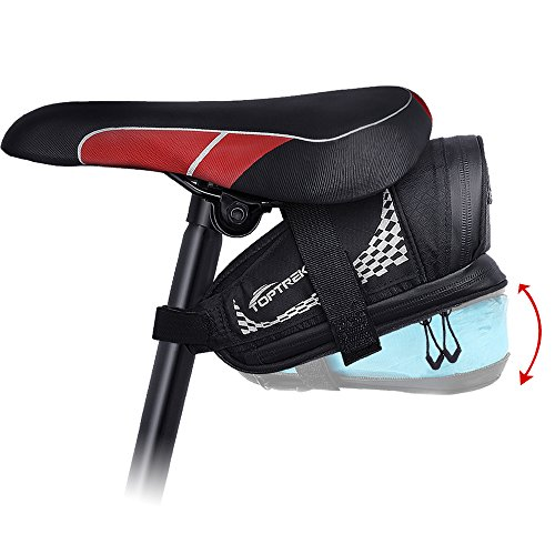 Saddle Expandable Bag (TOPTREK Bike Saddle Bag Outdoor Water Resistant Bike Bags under Seat with Expandable Capacity and Waterproof Zipper Bicycle Seat Bag for Foldable/Road/Mountain Bike)