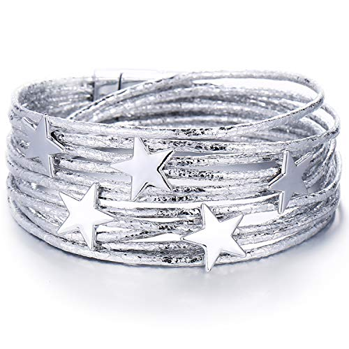 FINETOO Silver Star Wrap Bracelet Multi-Layer Leather Bracelet Wrap Cuff Bobo Bangle - with Alloy Magnetic Clasp Handmade Jewelry for Women,Girl Gift