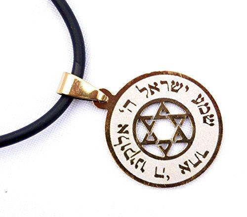 (Pendant&cord Jewish Prayer Shema Israel & Star of David Judaica Stainless Gold )
