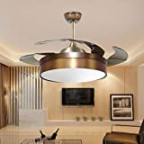 TiptonLight Invisible Ceiling Fan with Simple Style Has Three Change Colors with Remote Control for Bedroom,Living Room (42 Inch, Copper)