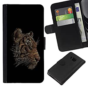 KingStore / Leather Etui en cuir / HTC One M9 / Enfriar Word Art Tiger Tipografía