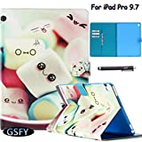 iPad Pro 9.7 Case, Newshine [Perfect Fit]Cute&Colorful Premium PU Leather Folio Stand Case Protective Cover with Auto Wake/Sleep Feature [Card Slots] for Apple iPad Pro 9.7 (Marshmallows)