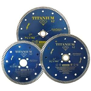 """5"""" Titanium X7 Diamond Turbo Blade - Granite Marble Concrete , 20mm-7/8"""" Arbor"""