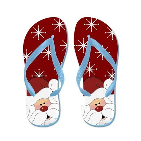 Lplpol Santa Claus Christmas Holiday Flip Flops Red for Kids Adult Beach Sandals Pool Shoes Party Slippers Black Pink Blue Belt for Chosen
