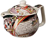 Purpledip Beautifully Painted Ceramic Kettle, Small Kettle for 1 Cup of Tea, Steel Strainer Included (10728)