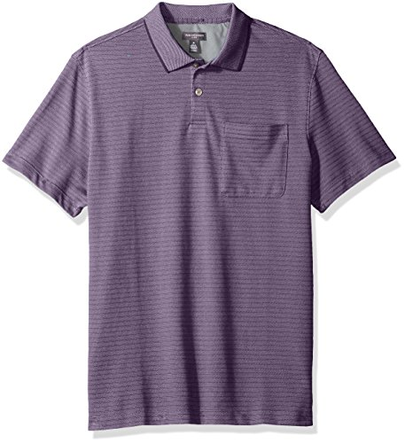 Van Heusen Men's Jacquard Short Sleeve Polo, Dusty Lilac, Large