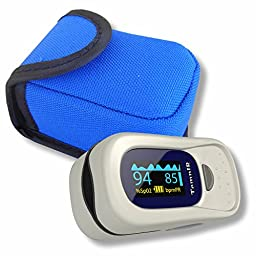 Finger Pulse Oximeter Portable FDA Approved Digital Blood Oxygen and Pulse Sensor Meter with Alarm - SPO2 - For Adults, Children, Sports use only - TempIR for Reliability and Excellent Customer Care