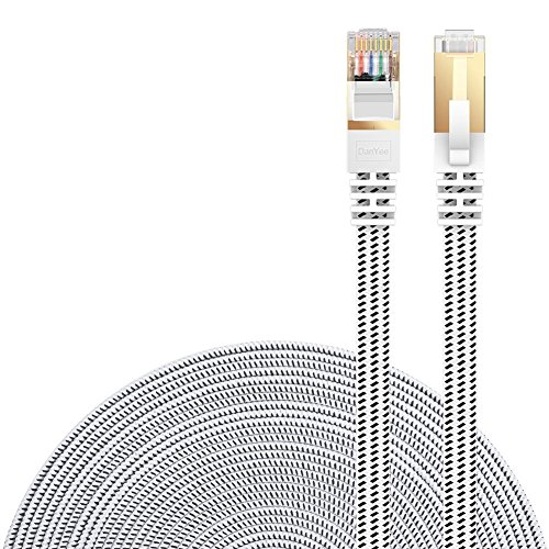Cat 7 Ethernet Cable, DanYee Nylon 15ft CAT7 High Speed Professional Gold Plated Plug STP Wires CAT 7 RJ45 Ethernet Cable 3ft 10ft 16ft 26ft 33ft 50ft 66ft 100ft(White 16ft)