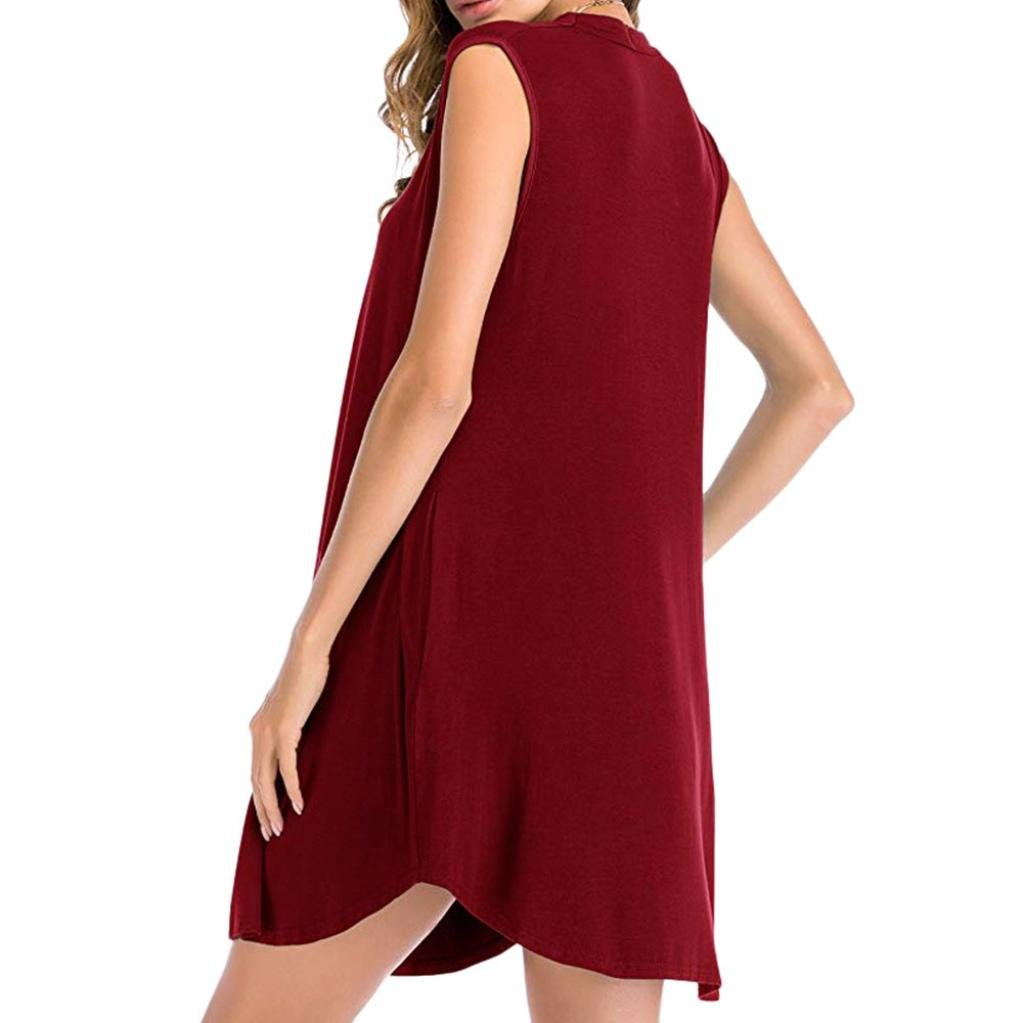 Womens Casual Swing T Shirt Dresses Pockets Loose Soft Knee Length
