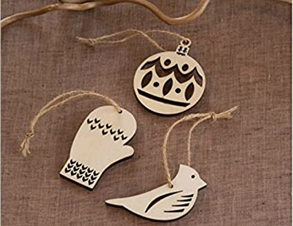 lingdun creative hobbies unfinished wooden christmas ornaments ready to paint or decorateone pack - Wooden Christmas Ornaments To Paint