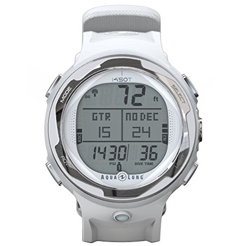 Aqua Lung i450t Hoseless Air Integrated Wrist Watch Dive Computer w/USB, White