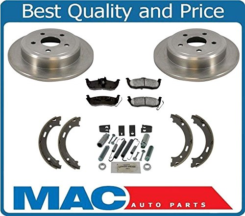 Mac Auto Parts 20719 05-10 Grand Cherokee Rear Disc Brake Rotor Pads Parking Brake Shoes Springs 5Pc