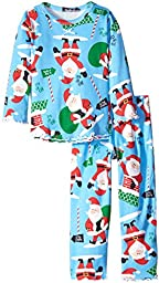 Sara\'s Prints Little Girls\' Ruffle Top and Pant, North Pole Santa Blue, 3