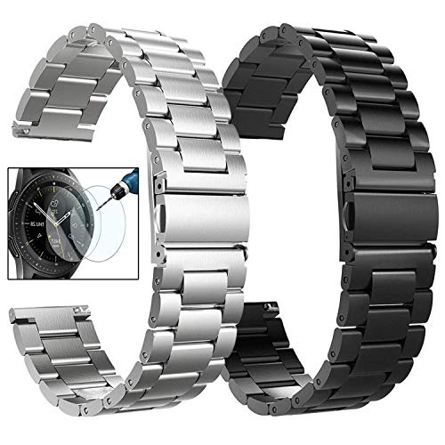Koreda Compatible Galaxy Watch 46mm Bands/Gear S3 Frontier/Classic Bands Sets, 20mm 2 Pack Solid Stainless Steel Metal Band Bracelet Strap Replacement for Ticwatch Pro/Galaxy Watch 46mm Smartwatch