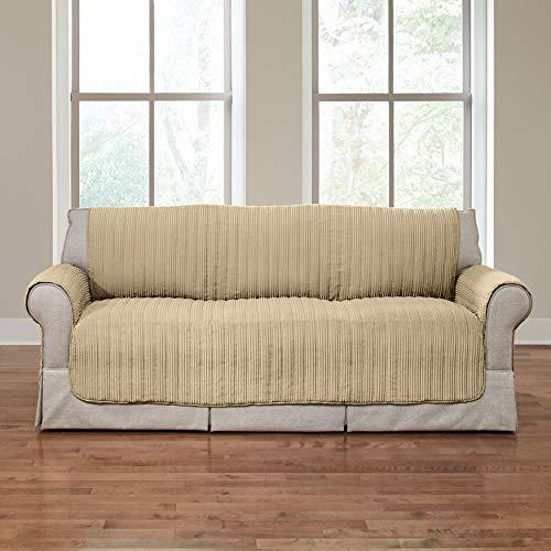 BrylaneHome Reversible Plush Stripe Sofa Protector - Golden Tan